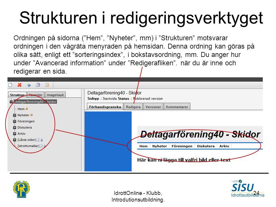 """Strukturen i redigeringsverktyget IdrottOnline - Klubb, Introdutionsutbildning. 24 Ordningen på sidorna (""""Hem"""", """"Nyheter"""", mm) i """"Strukturen"""" motsvara"""
