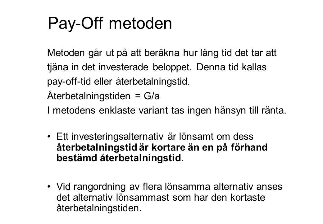 Pay-Off metoden Metoden går ut på att beräkna hur lång tid det tar att tjäna in det investerade beloppet. Denna tid kallas pay-off-tid eller återbetal
