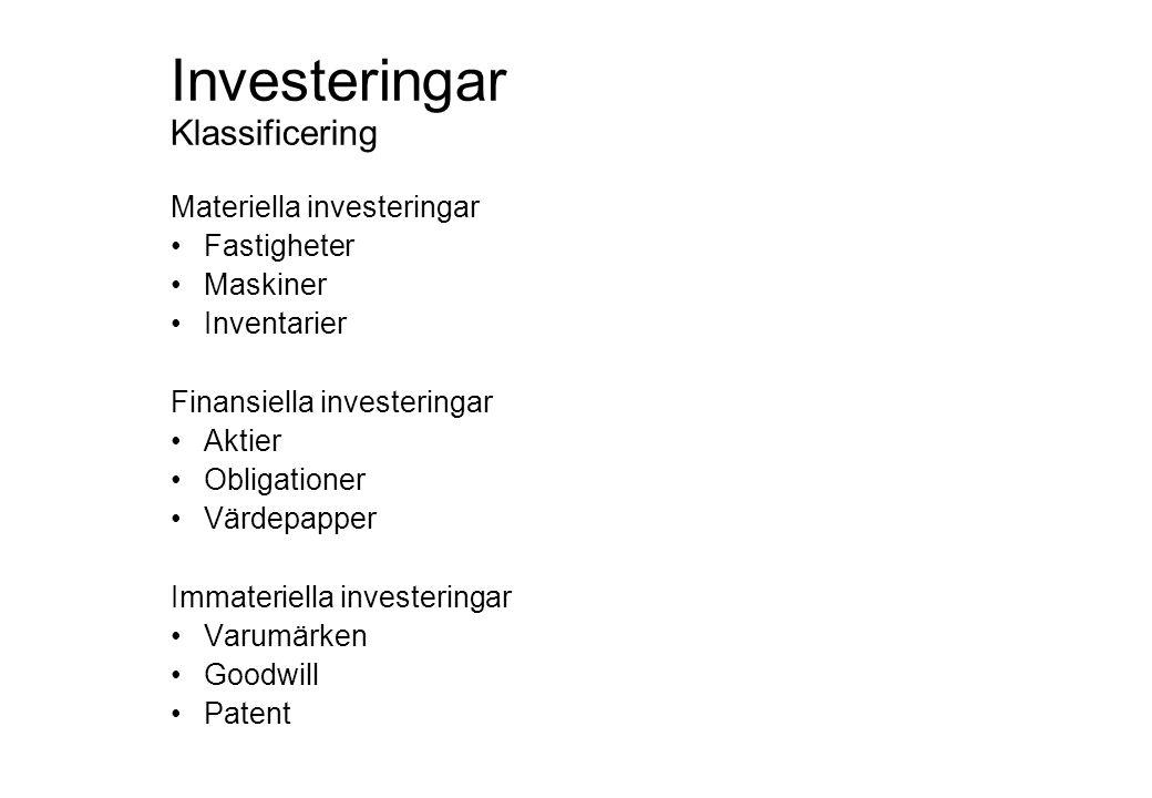 Investeringar Materiella Ersättningsinvesteringar •Reinvesteringar •Återinvesteringar Expansionsinvesteringar •Nyinvesteringar Rationaliseringsinvesteringar •Intäktshöjande investeringar Miljöinvesteringar