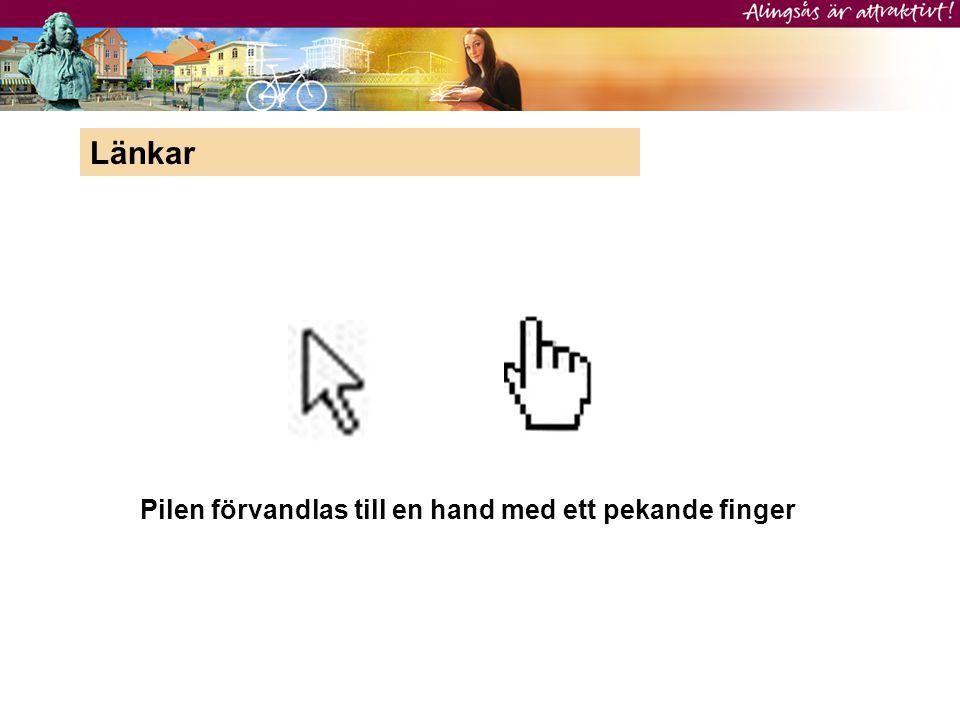 Länkar Pilen förvandlas till en hand med ett pekande finger