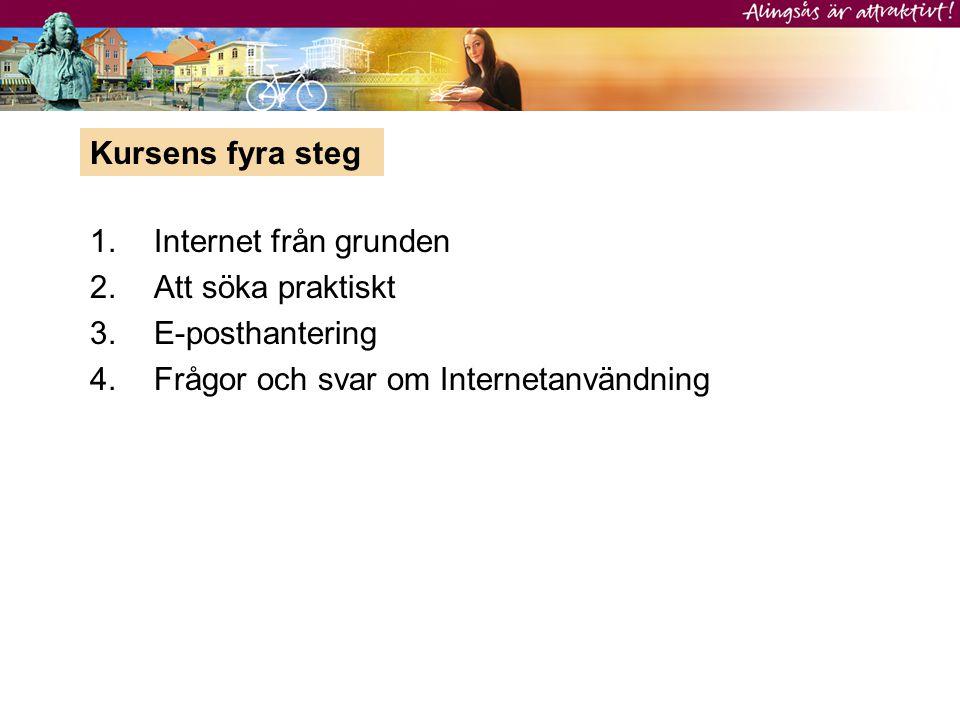 1.Internet från grunden 2.Att söka praktiskt 3.E-posthantering 4.Frågor och svar om Internetanvändning Kursens fyra steg