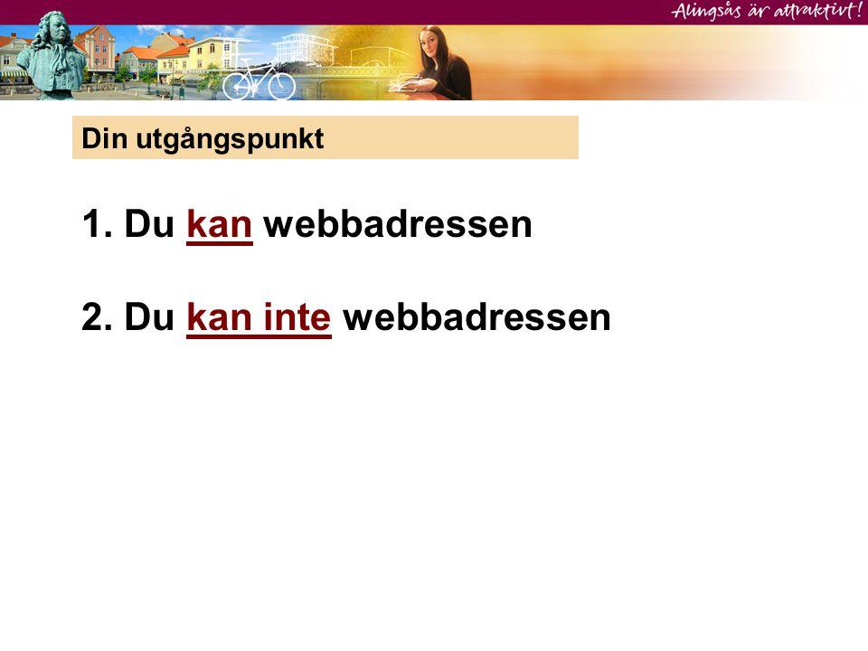 Din utgångspunkt 1. Du kan webbadressen 2. Du kan inte webbadressen