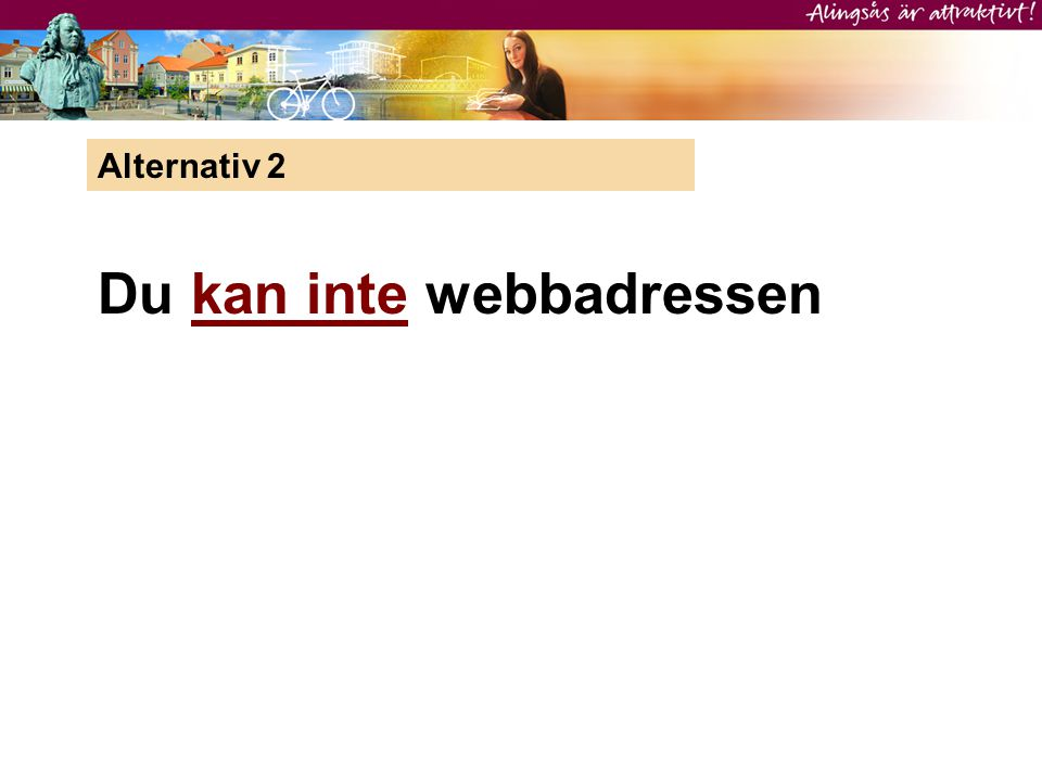 Alternativ 2 Du kan inte webbadressen