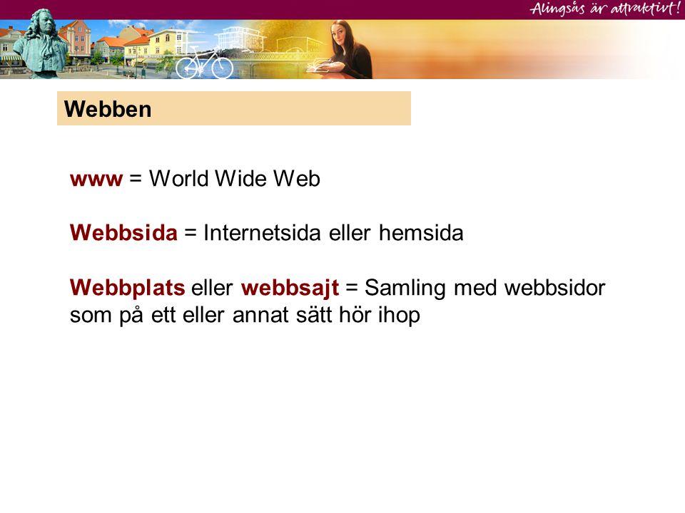www = World Wide Web Webbsida = Internetsida eller hemsida Webbplats eller webbsajt = Samling med webbsidor som på ett eller annat sätt hör ihop Webbe