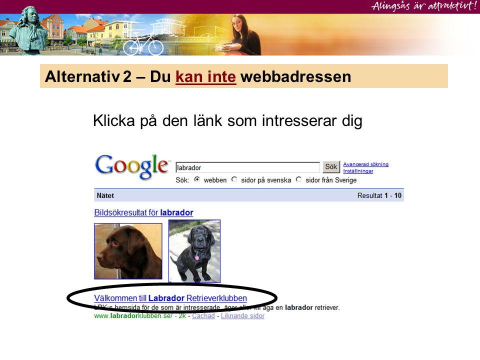 Alternativ 2 – Du kan inte webbadressen Klicka på den länk som intresserar dig