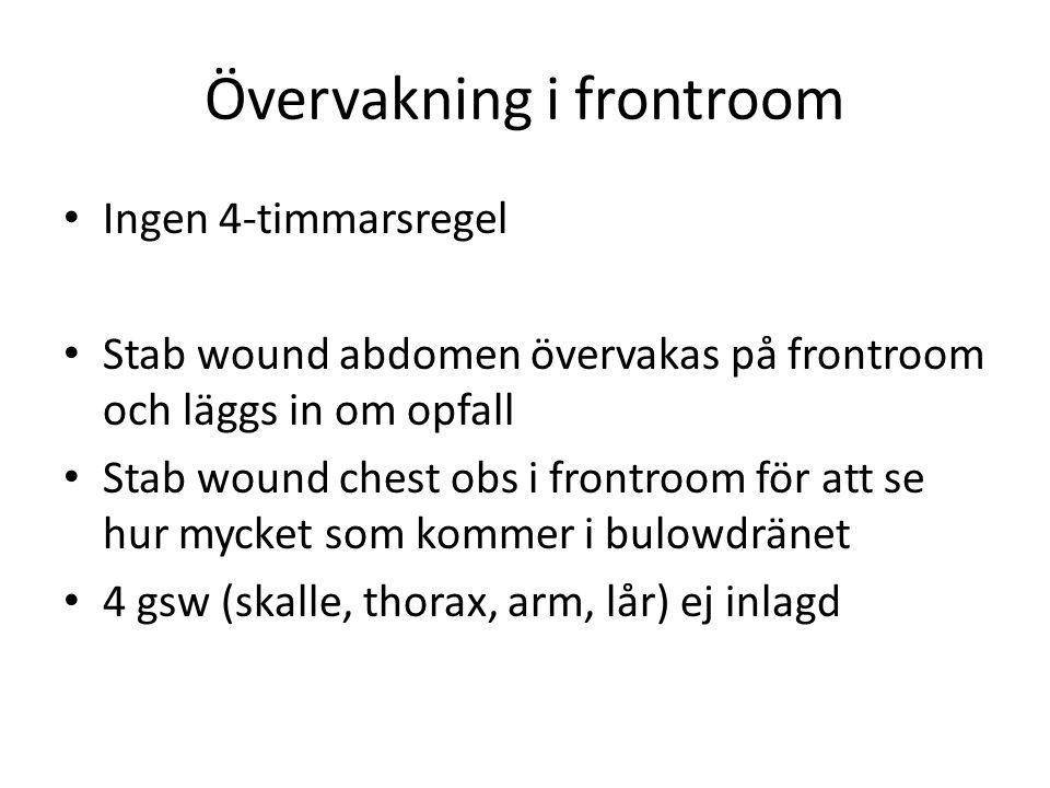 Övervakning i frontroom • Ingen 4-timmarsregel • Stab wound abdomen övervakas på frontroom och läggs in om opfall • Stab wound chest obs i frontroom f