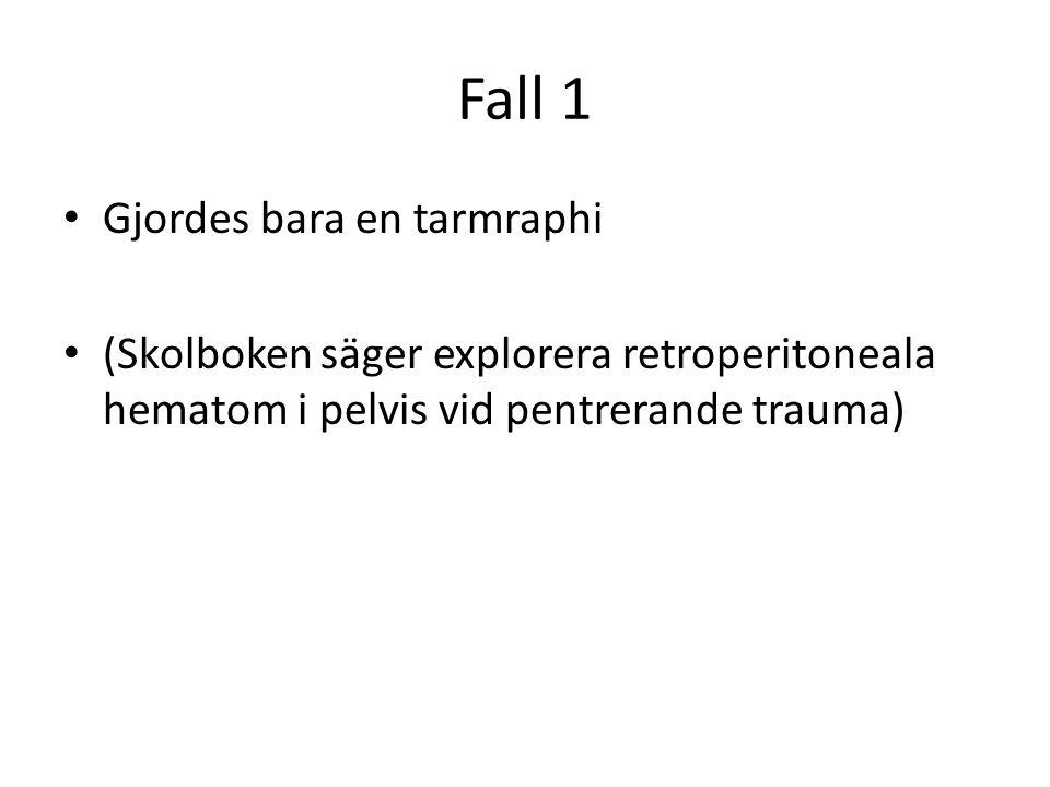 Fall 1 • Gjordes bara en tarmraphi • (Skolboken säger explorera retroperitoneala hematom i pelvis vid pentrerande trauma)