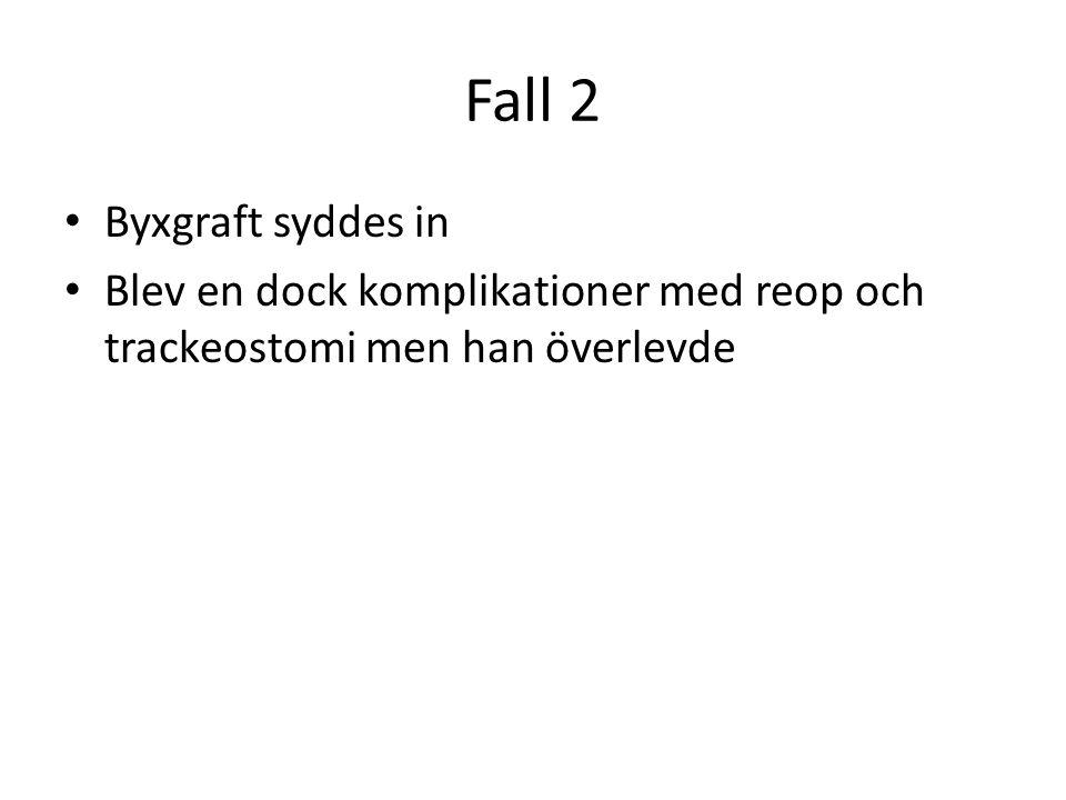 Fall 2 • Byxgraft syddes in • Blev en dock komplikationer med reop och trackeostomi men han överlevde