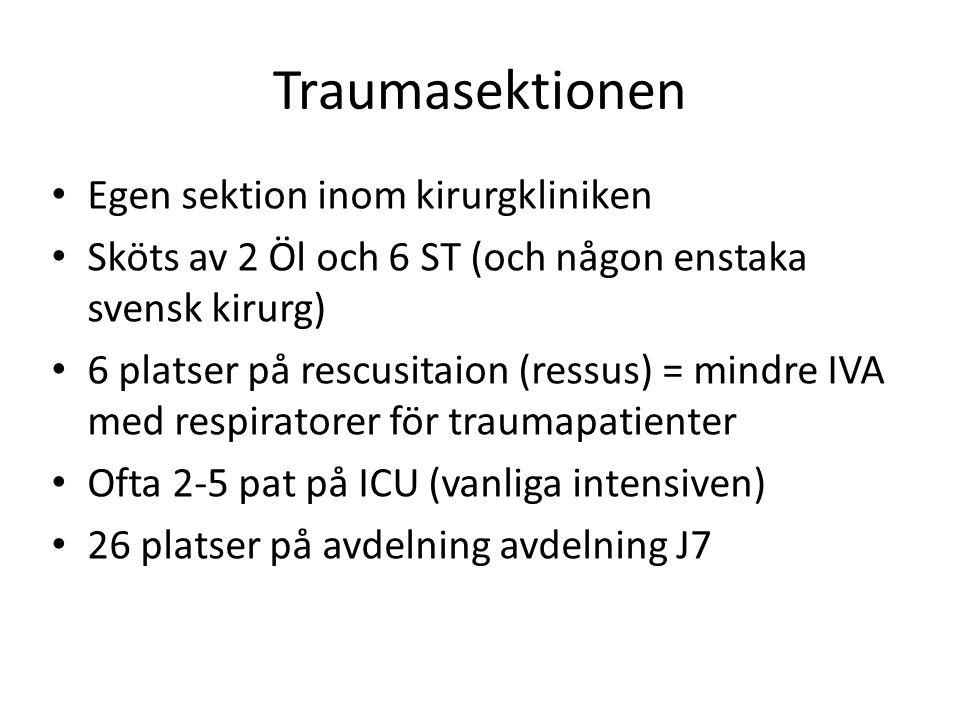 Traumasektionen • Egen sektion inom kirurgkliniken • Sköts av 2 Öl och 6 ST (och någon enstaka svensk kirurg) • 6 platser på rescusitaion (ressus) = m