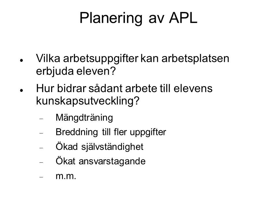 Planering av APL  Vilka arbetsuppgifter kan arbetsplatsen erbjuda eleven?  Hur bidrar sådant arbete till elevens kunskapsutveckling?  Mängdträning