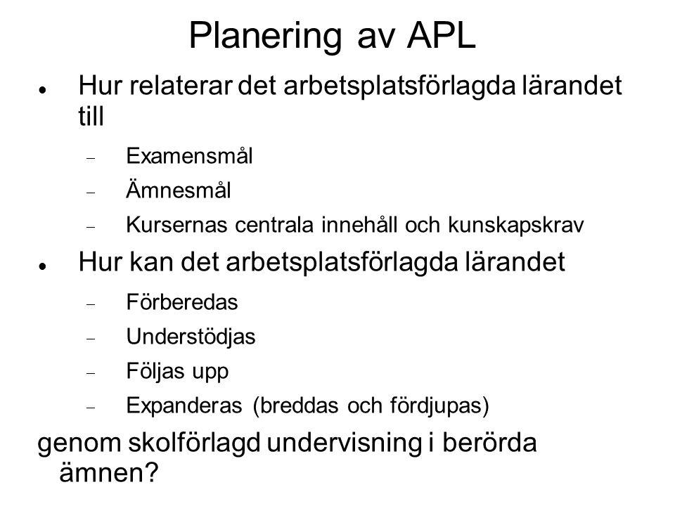 Planering av APL  Hur relaterar det arbetsplatsförlagda lärandet till  Examensmål  Ämnesmål  Kursernas centrala innehåll och kunskapskrav  Hur ka