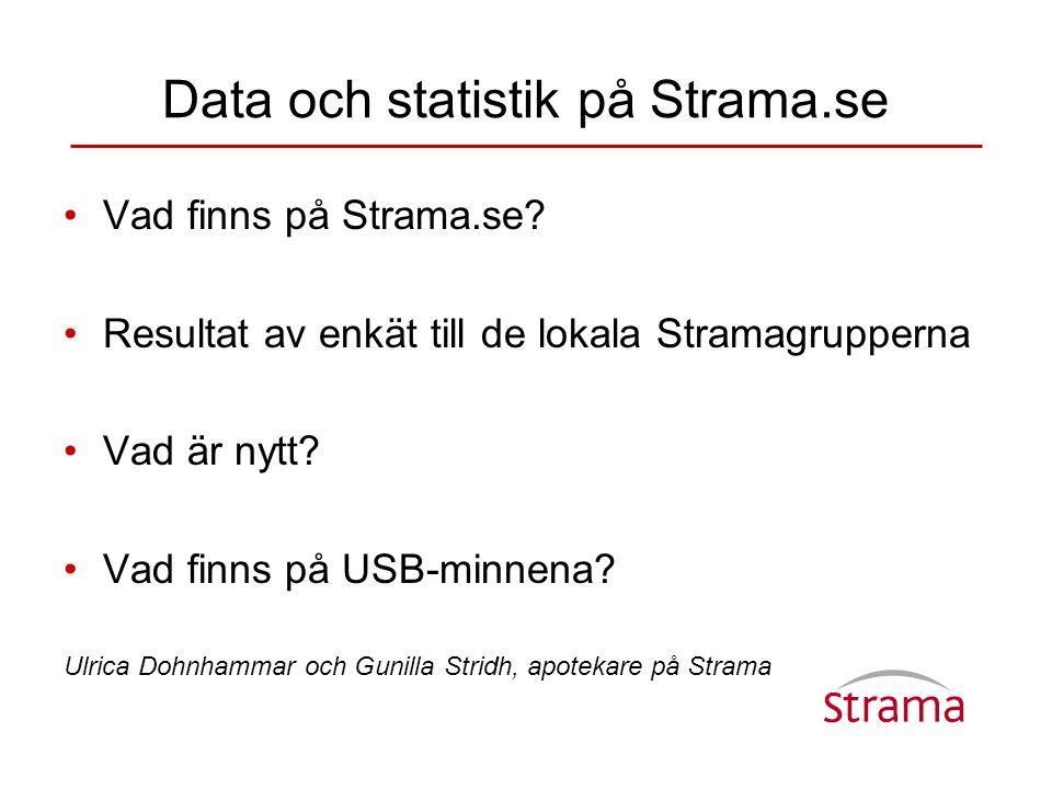Data och statistik på Strama.se •Vad finns på Strama.se? •Resultat av enkät till de lokala Stramagrupperna •Vad är nytt? •Vad finns på USB-minnena? Ul