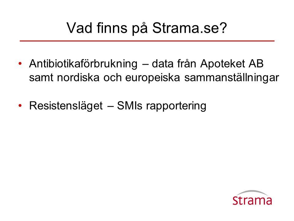 Vad finns på Strama.se? •Antibiotikaförbrukning – data från Apoteket AB samt nordiska och europeiska sammanställningar •Resistensläget – SMIs rapporte