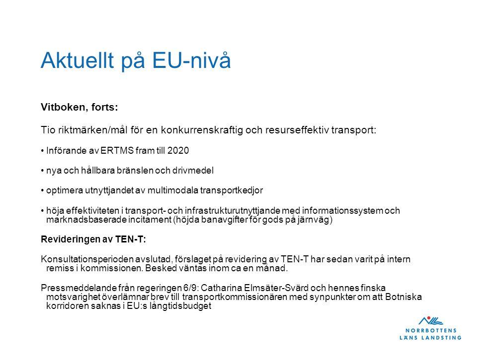 Aktuellt på EU-nivå Vitboken, forts: Tio riktmärken/mål för en konkurrenskraftig och resurseffektiv transport: •Införande av ERTMS fram till 2020 •nya och hållbara bränslen och drivmedel •optimera utnyttjandet av multimodala transportkedjor •höja effektiviteten i transport- och infrastrukturutnyttjande med informationssystem och marknadsbaserade incitament (höjda banavgifter för gods på järnväg) Revideringen av TEN-T: Konsultationsperioden avslutad, förslaget på revidering av TEN-T har sedan varit på intern remiss i kommissionen.