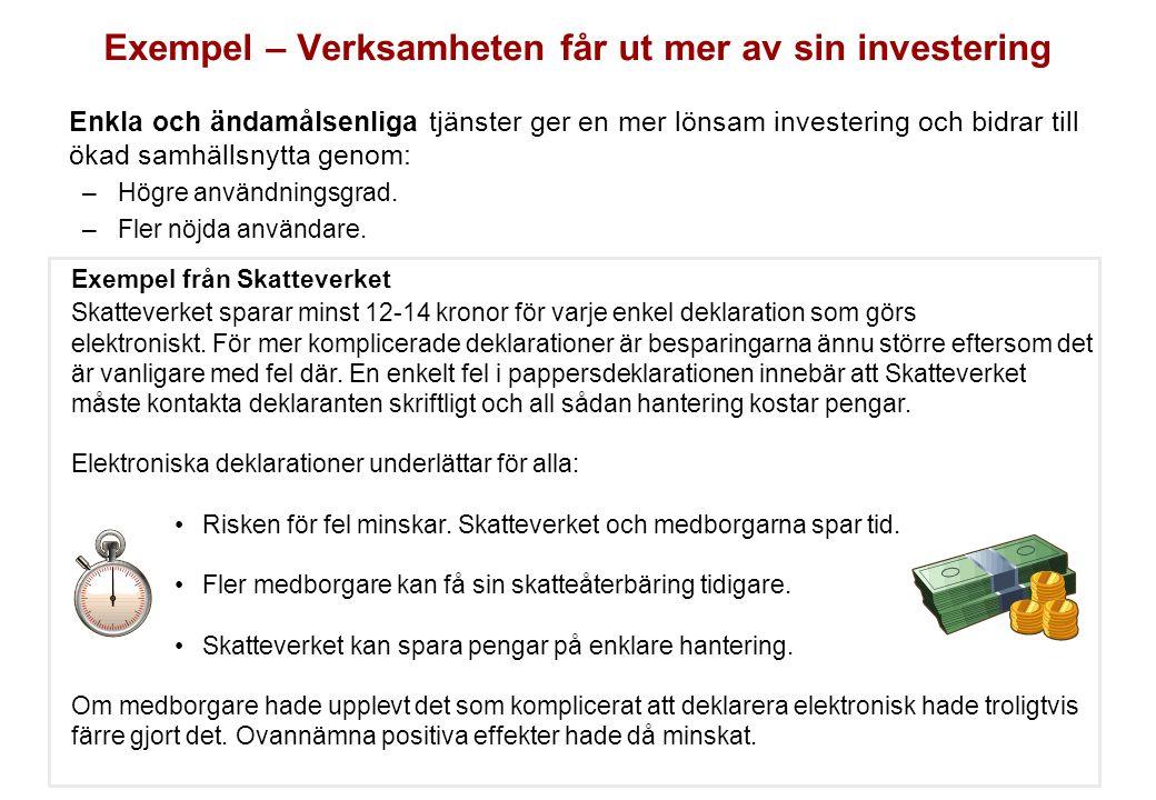 Exempel – Verksamheten får ut mer av sin investering Enkla och ändamålsenliga tjänster ger en mer lönsam investering och bidrar till ökad samhällsnytt