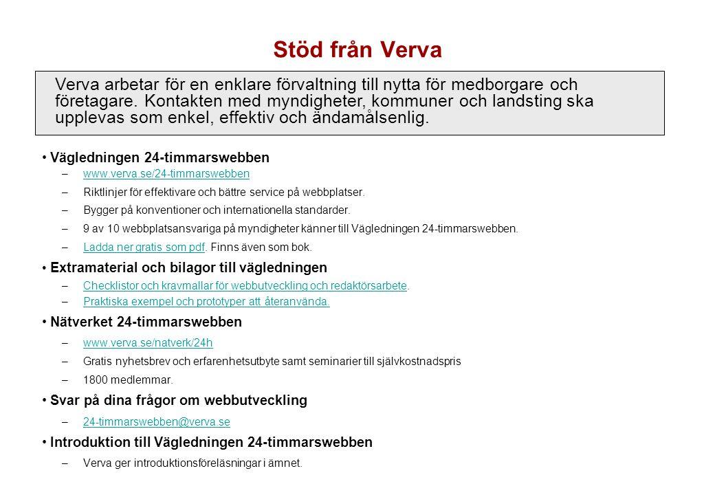 Stöd från Verva • Vägledningen 24-timmarswebben –www.verva.se/24-timmarswebbenwww.verva.se/24-timmarswebben –Riktlinjer för effektivare och bättre ser