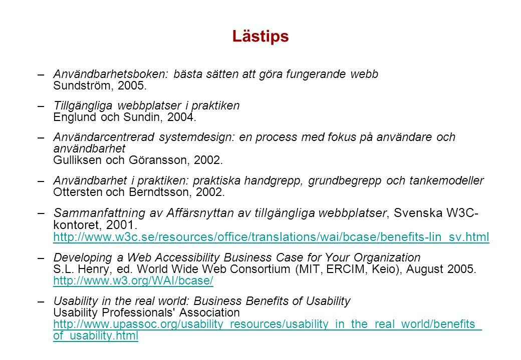 Lästips –Användbarhetsboken: bästa sätten att göra fungerande webb Sundström, 2005. –Tillgängliga webbplatser i praktiken Englund och Sundin, 2004. –A