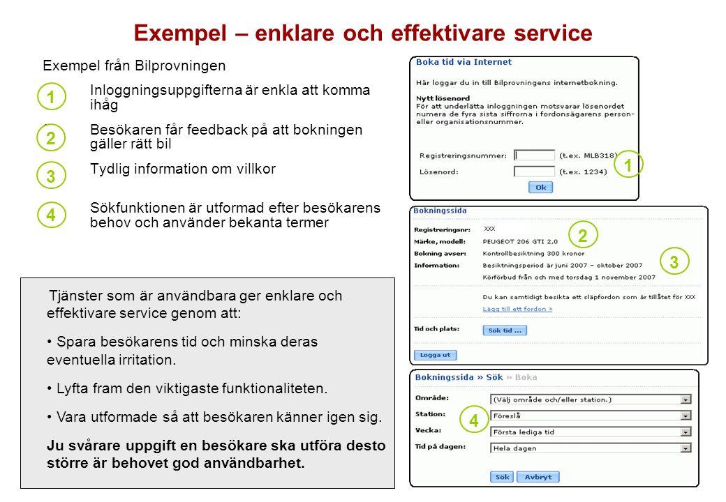 Exempel från Bilprovningen 1.Inloggningsuppgifterna är enkla att komma ihåg 2.Besökaren får feedback på att bokningen gäller rätt bil 3.Tydlig informa