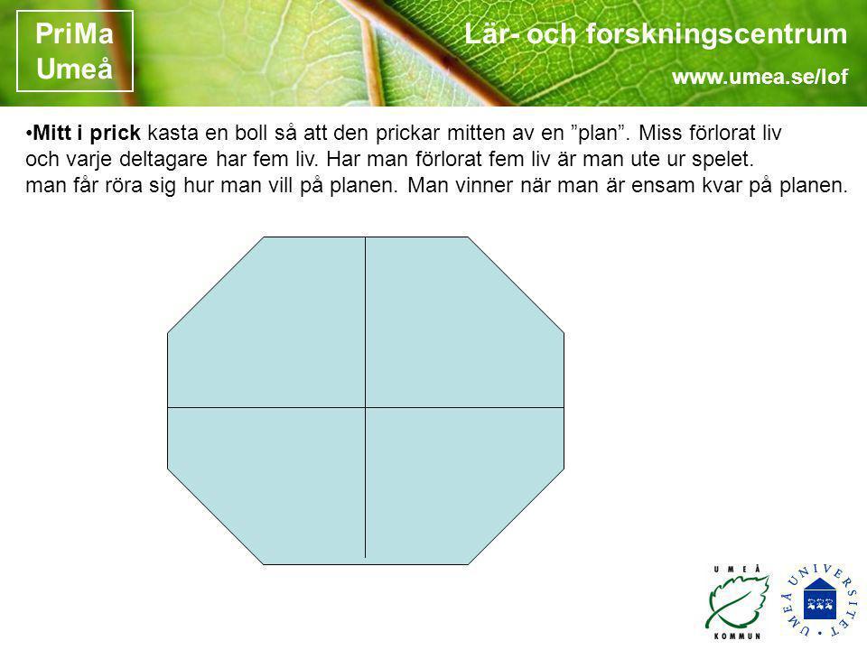 """Lär- och forskningscentrum www.umea.se/lof PriMa Umeå •Mitt i prick kasta en boll så att den prickar mitten av en """"plan"""". Miss förlorat liv och varje"""
