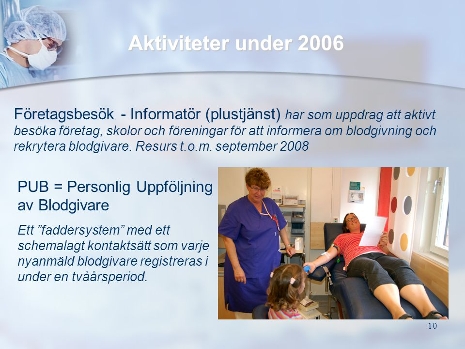 10 Företagsbesök - Informatör (plustjänst) har som uppdrag att aktivt besöka företag, skolor och föreningar för att informera om blodgivning och rekry