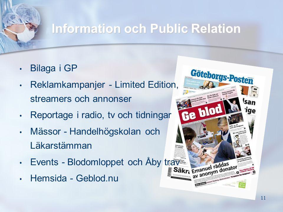 11 Information och Public Relation • • Bilaga i GP • • Reklamkampanjer - Limited Edition, streamers och annonser • • Reportage i radio, tv och tidning
