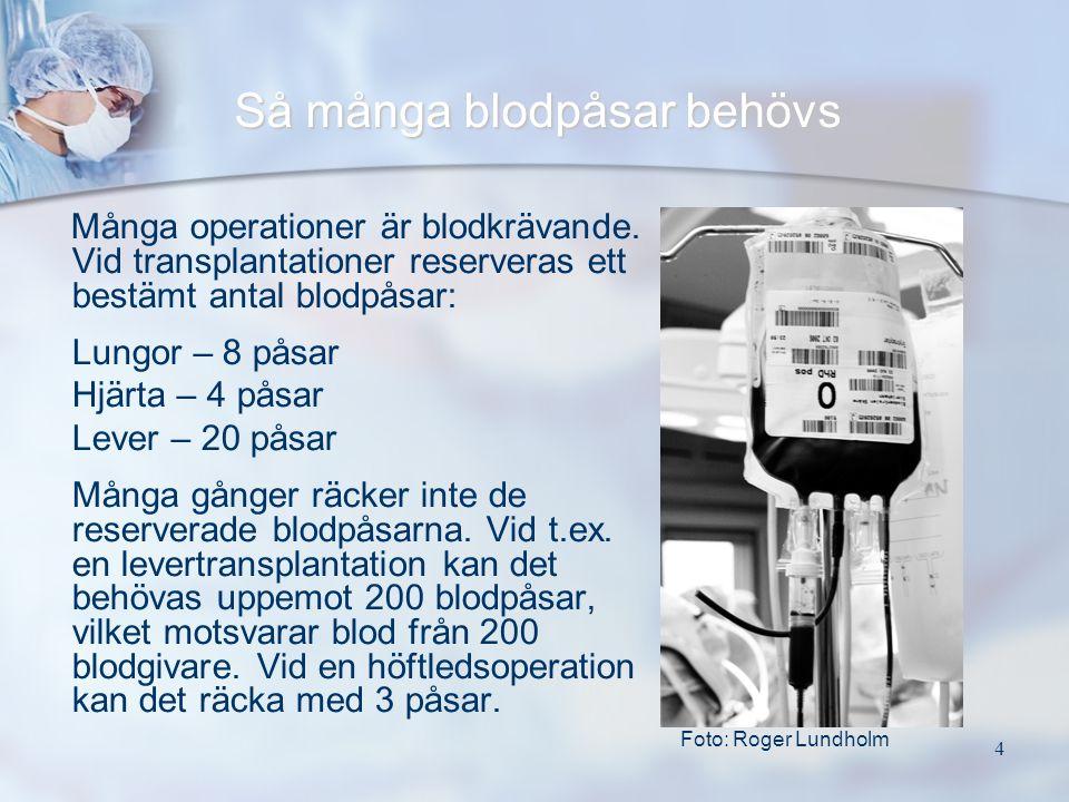 4 Så många blodpåsar behövs Många operationer är blodkrävande. Vid transplantationer reserveras ett bestämt antal blodpåsar: Lungor – 8 påsar Hjärta –