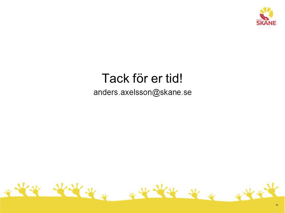 15 Tack för er tid! anders.axelsson@skane.se