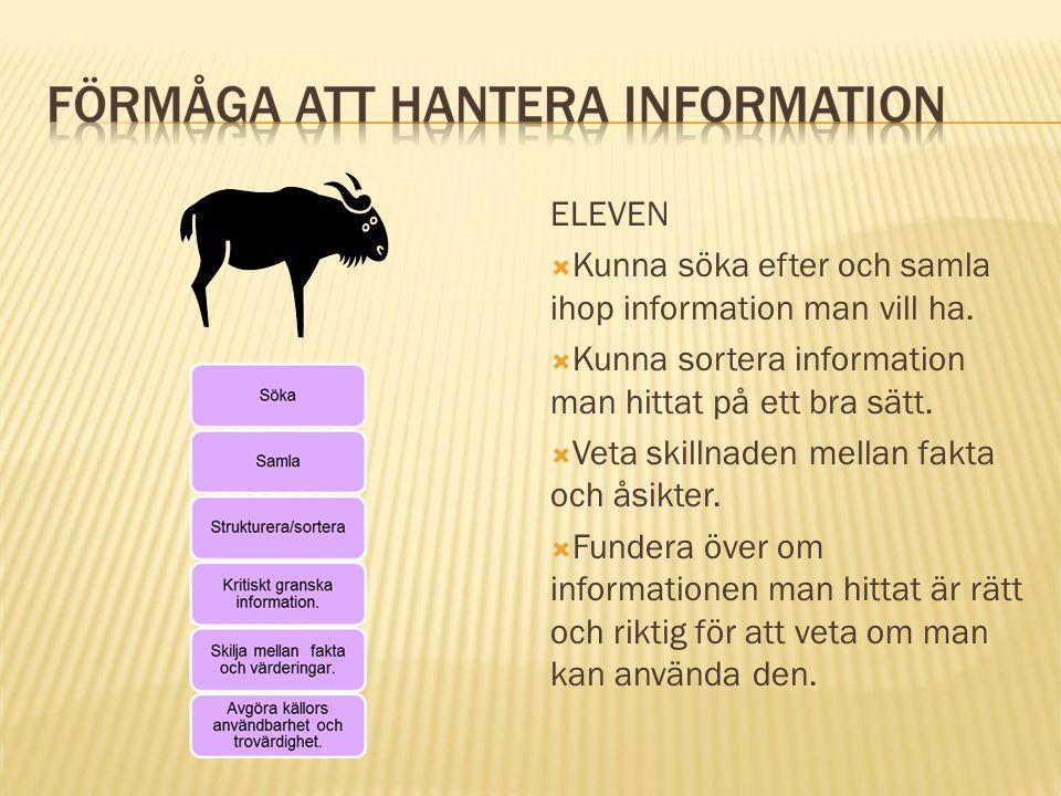ELEVEN  Kunna söka efter och samla ihop information man vill ha.  Kunna sortera information man hittat på ett bra sätt.  Veta skillnaden mellan fak