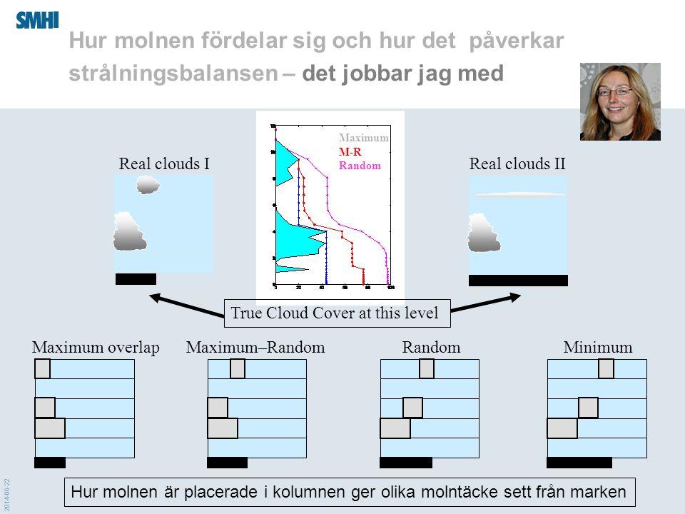 2014-06-22 Maximum overlapMaximum–RandomRandomMinimum True Cloud Cover at this level Real clouds IReal clouds II Maximum M-R Random Hur molnen är plac