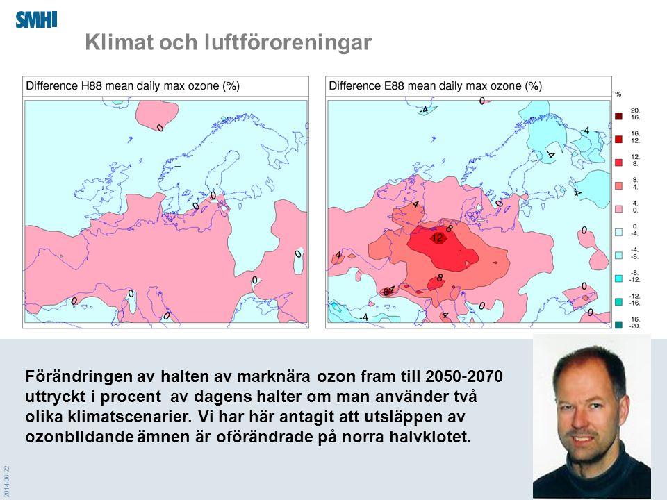2014-06-22 Förändringen av halten av marknära ozon fram till 2050-2070 uttryckt i procent av dagens halter om man använder två olika klimatscenarier.