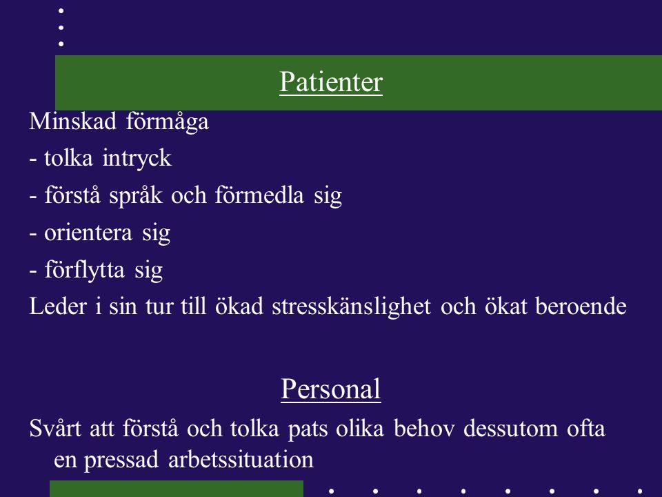 Exempel på omvårdnadsdiagnoser Otrygghet p.g.a.