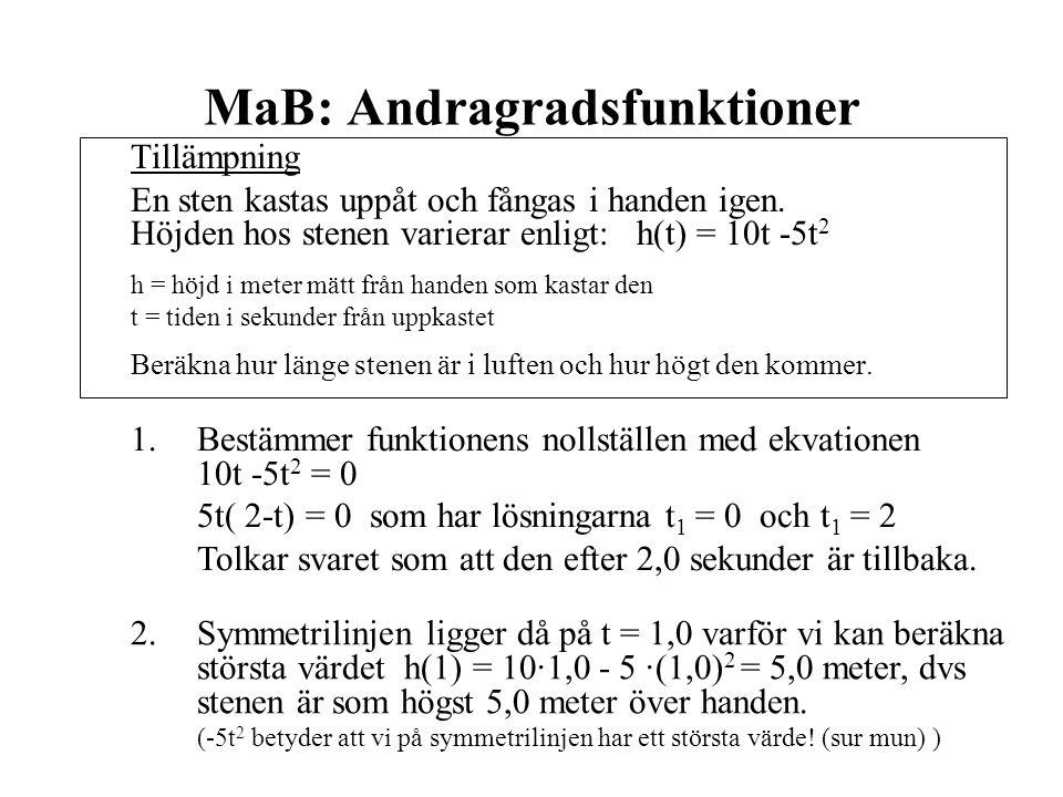 MaB: Andragradsfunktioner Tillämpning En sten kastas uppåt och fångas i handen igen. Höjden hos stenen varierar enligt: h(t) = 10t -5t 2 h = höjd i me