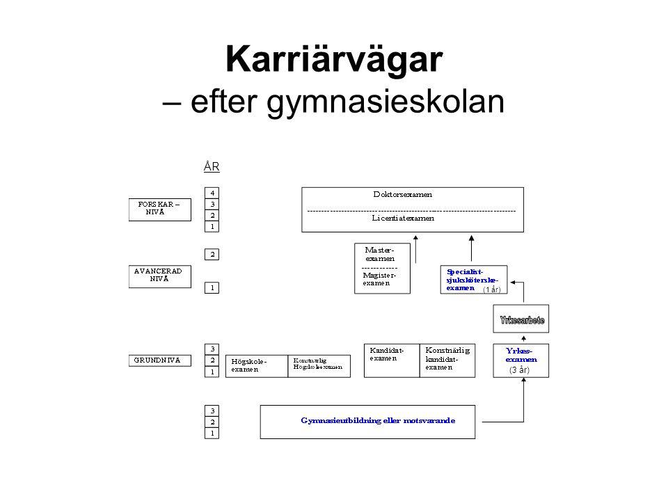 Högre utbildning Riksdagen har beslutat om utbildning på universitet och högskolor och delat dem i tre nivåer: •Grundnivå •Avancerad nivå •Forskarnivå