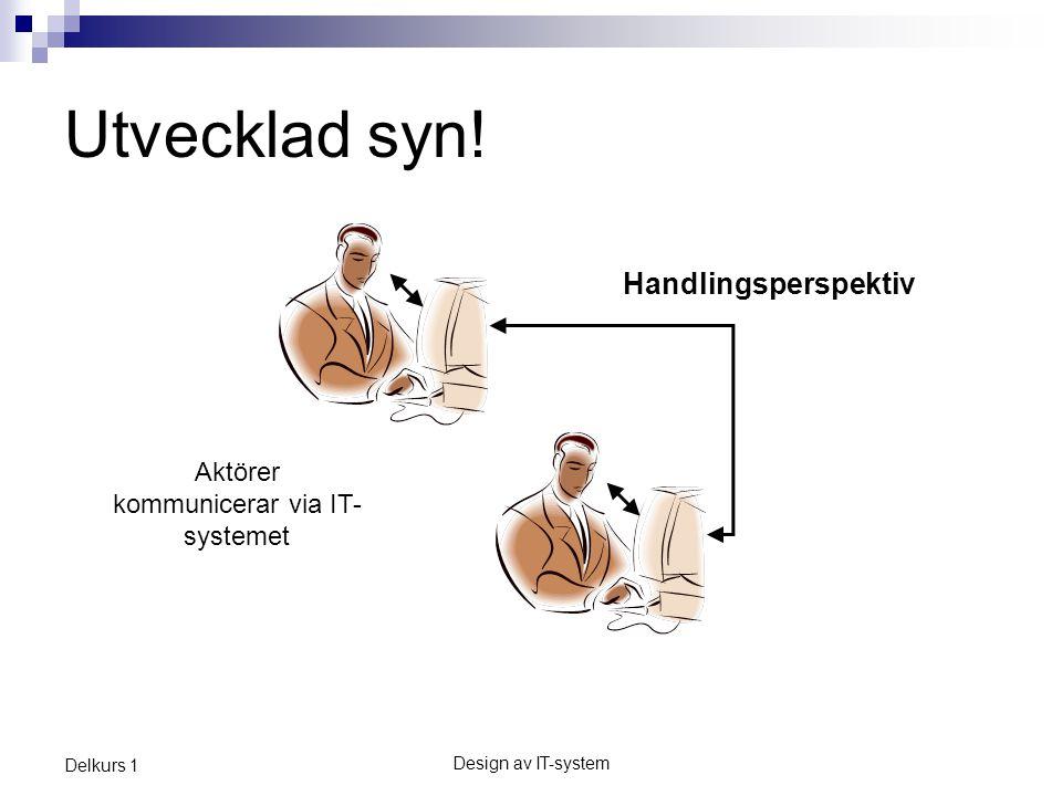 Design av IT-system Delkurs 1 Utvecklad syn.