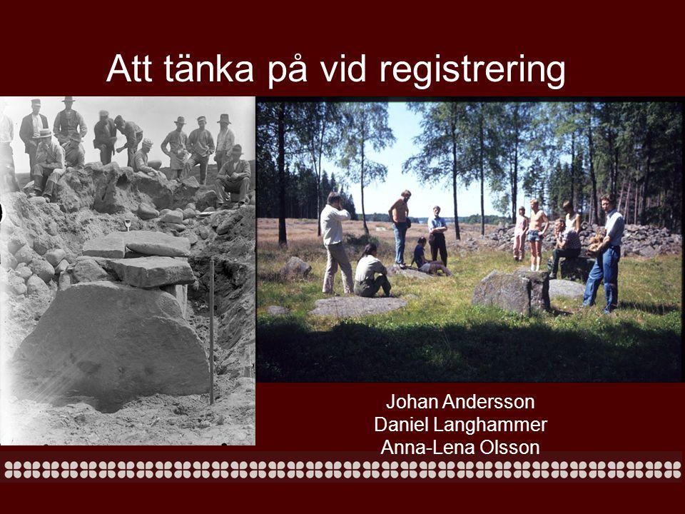 Att tänka på vid registrering Johan Andersson Daniel Langhammer Anna-Lena Olsson