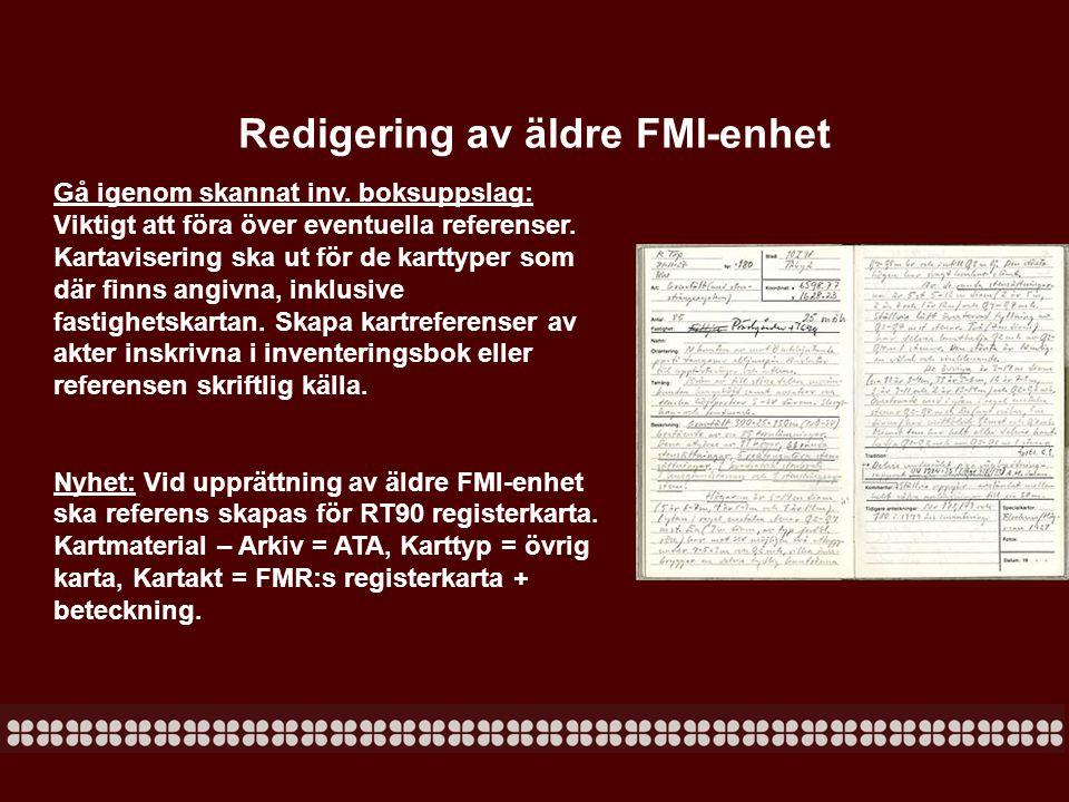 Namnavisering -Om övrig kulturhistorisk lämning som ska namnaviseras, men endast markeras med yta ska namnet sättas på rekommenderat namn och fastighetskartan ska endast vara ifylld för namnavisering.