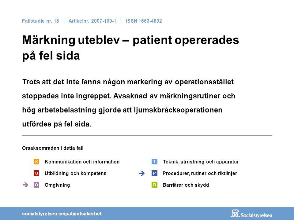 socialstyrelsen.se/patientsakerhet Fallstudie nr. 15 | Artikelnr. 2007-109-1 | ISSN 1653-4832 Märkning uteblev – patient opererades på fel sida Trots