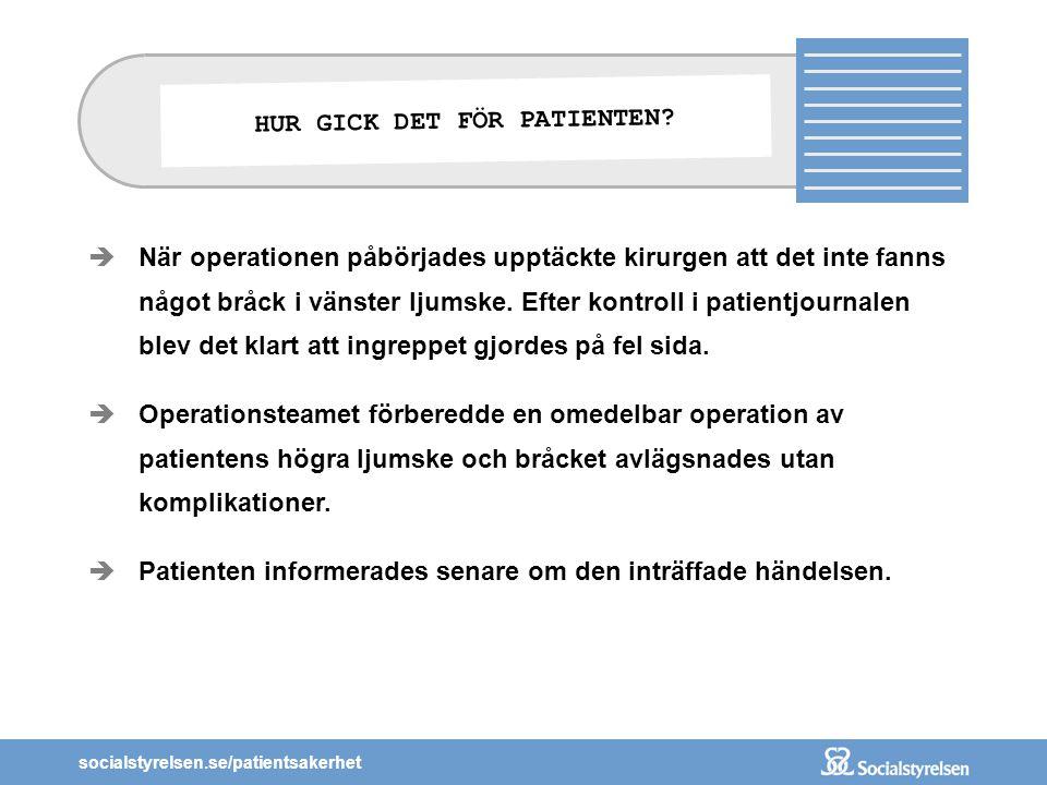 socialstyrelsen.se/patientsakerhet  När operationen påbörjades upptäckte kirurgen att det inte fanns något bråck i vänster ljumske. Efter kontroll i