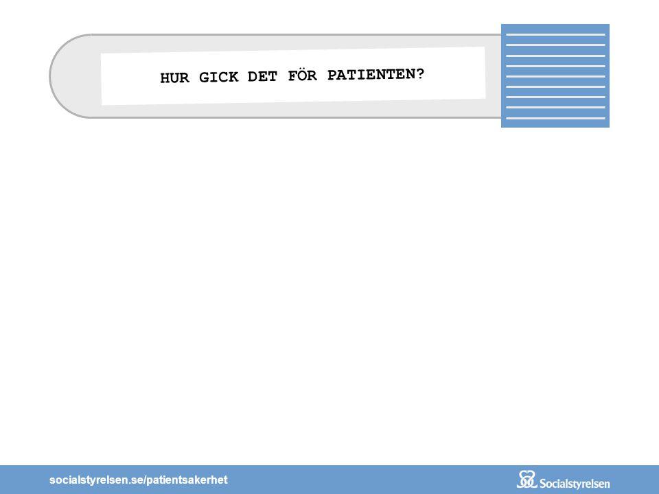 socialstyrelsen.se/patientsakerhet HUR GICK DET FÖR PATIENTEN?