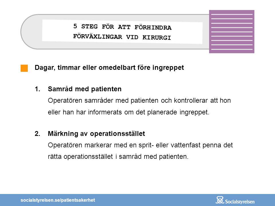 socialstyrelsen.se/patientsakerhet Dagar, timmar eller omedelbart före ingreppet 1.Samråd med patienten Operatören samråder med patienten och kontroll