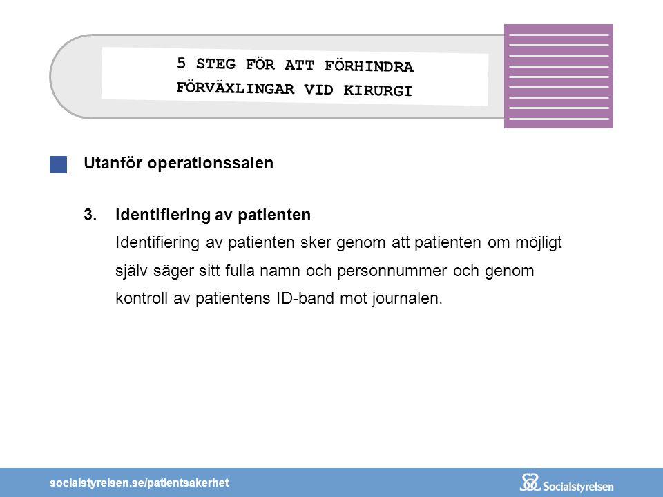 socialstyrelsen.se/patientsakerhet Utanför operationssalen 3.Identifiering av patienten Identifiering av patienten sker genom att patienten om möjligt
