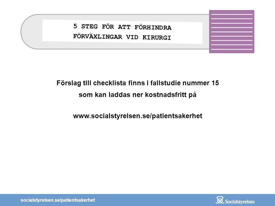 socialstyrelsen.se/patientsakerhet Förslag till checklista finns i fallstudie nummer 15 som kan laddas ner kostnadsfritt på www.socialstyrelsen.se/pat