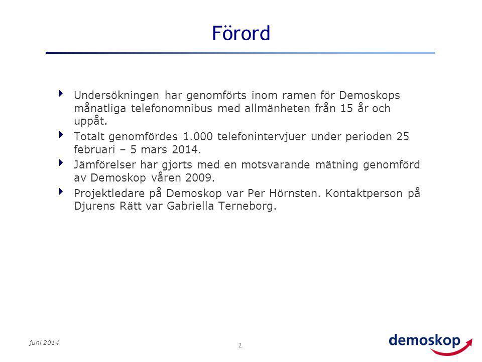 juni 2014 2 Förord  Undersökningen har genomförts inom ramen för Demoskops månatliga telefonomnibus med allmänheten från 15 år och uppåt.  Totalt ge