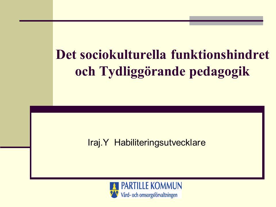 Det sociokulturella funktionshindret och Tydliggörande pedagogik Iraj.Y Habiliteringsutvecklare