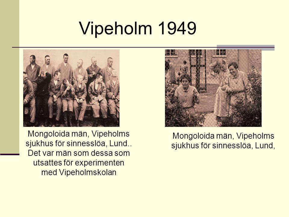 Mongoloida män, Vipeholms sjukhus för sinnesslöa, Lund.. Det var män som dessa som utsattes för experimenten med Vipeholmskolan Mongoloida män, Vipeho
