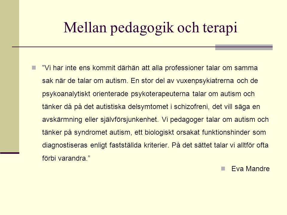 """Mellan pedagogik och terapi  """"Vi har inte ens kommit därhän att alla professioner talar om samma sak när de talar om autism. En stor del av vuxenpsyk"""