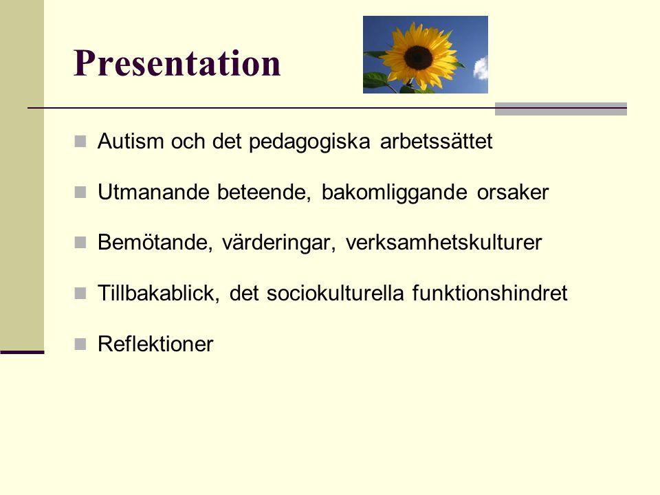 Presentation  Autism och det pedagogiska arbetssättet  Utmanande beteende, bakomliggande orsaker  Bemötande, värderingar, verksamhetskulturer  Til