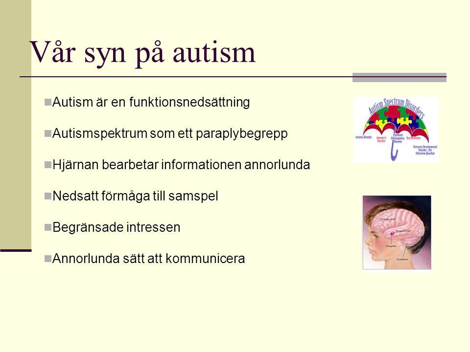 Vår syn på autism  Autism är en funktionsnedsättning  Autismspektrum som ett paraplybegrepp  Hjärnan bearbetar informationen annorlunda  Nedsatt f