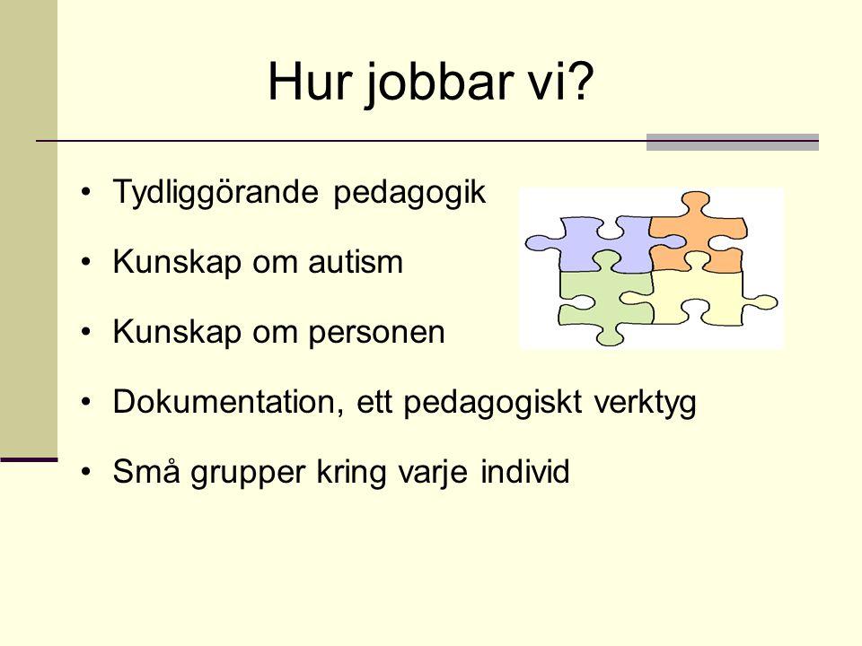 Hur jobbar vi? •Tydliggörande pedagogik •Kunskap om autism •Kunskap om personen •Dokumentation, ett pedagogiskt verktyg •Små grupper kring varje indiv