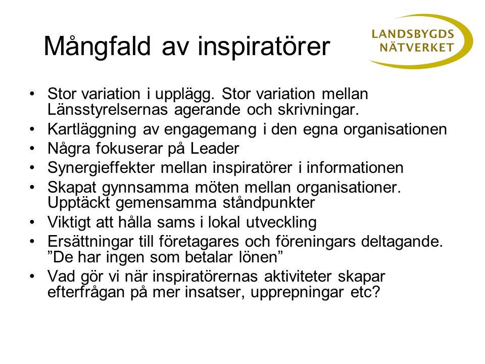 Mångfald av inspiratörer •Stor variation i upplägg.